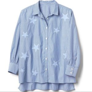 Gap Star Patch Stripe Button Down Shirt - Size XXL